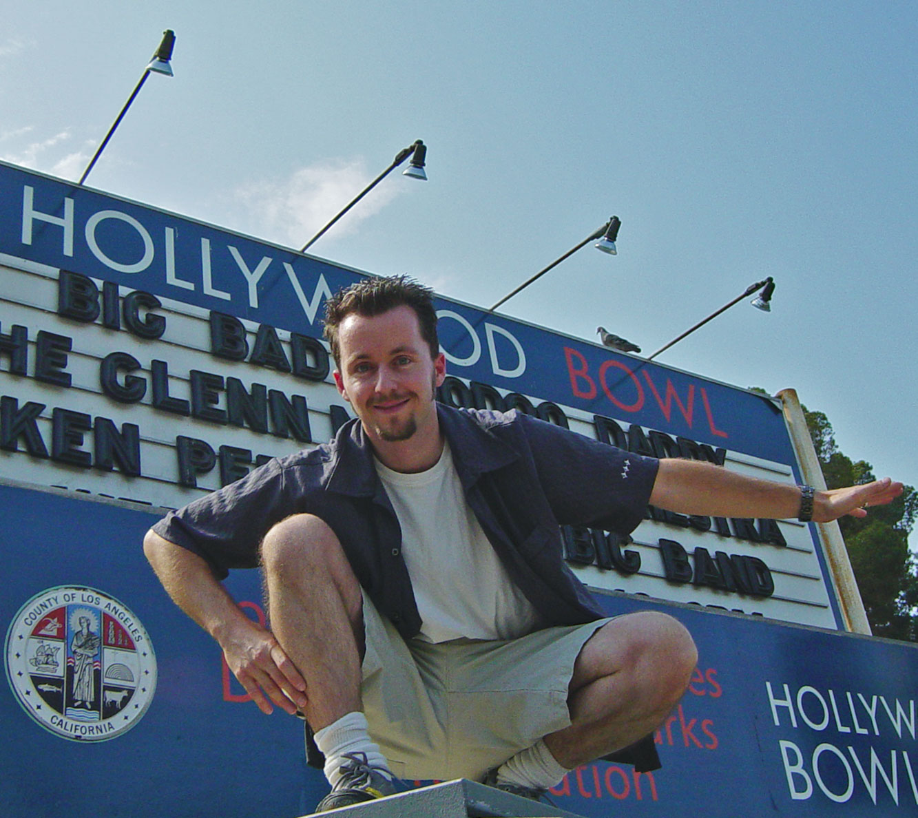 Glen in front of the Hollywood Bowl Sign